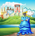 An angry fat blue monster in the city illustration of Stock Photo
