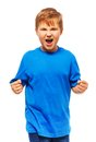 Angry fat boy with screaming expression holding fists standing isolated on white Royalty Free Stock Image