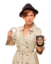 Angry Female Detective With Handcuffs and Badge In Trench Coat Royalty Free Stock Photo