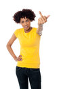 Angry female showing middle finger Stock Image