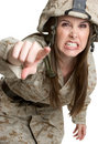 Angry Female Soldier Stock Photography