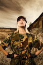 Angry female soldier Royalty Free Stock Photo