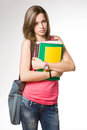 Angry, frustrated looking young student girl. Royalty Free Stock Photography