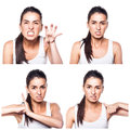 Angry girl composite on white Royalty Free Stock Photos