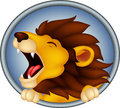 Angry head lion cartoon roaring vector illustration of Stock Photo