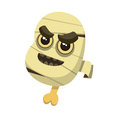Angry head of mummy with backbone, open mouth and bandage or gauze Royalty Free Stock Photo