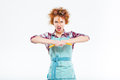 Angry housewife brokes spaghetti Royalty Free Stock Photo