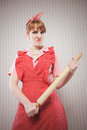 Angry housewife rolling pin Royalty Free Stock Photos