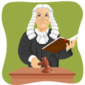 Angry judge makes verdict for law knocking gavel and holding book Royalty Free Stock Photo