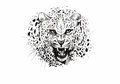 Angry leopard muzzle, black and white sketch Royalty Free Stock Photo