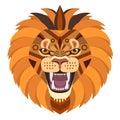 Angry lion head Logo. Vector decorative Emblem.