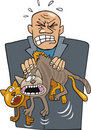 Angry man with cats Royalty Free Stock Photo