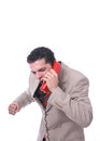 Angry man on the phone an shouting isolated white Stock Images