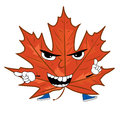 Angry mapple leaf cartoon Royalty Free Stock Photo
