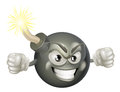 Angry mean bomb cartoon mascot an illustration of or looking character with a lit fuse Stock Images