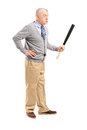 An angry middle aged man holding a baseball bat full length portrait of isolated on white background Royalty Free Stock Images