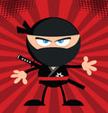 Angry ninja warrior cartoon character flat design over red background Stock Photos