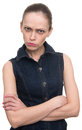 Angry offended woman looking at camera isolated Stock Photography