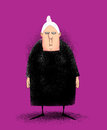 Angry old lady humorous illustration of a cranky peevish in a black dress Stock Photo