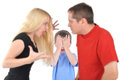 Angry Parents Fighting with Boy Child Royalty Free Stock Images