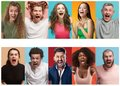 stock image of  Angry people screaming. The collage of different human facial expressions, emotions and feelings of young men and women.