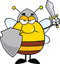 Angry pudgy bee warrior with shield and sword cartoon character Stock Photography