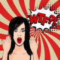 Angry sexy brunette girl pop art Royalty Free Stock Photo