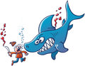Angry shark fighting back against finner hunter with a knife being sunk and threatened by an blue after having tried to cut his Royalty Free Stock Image