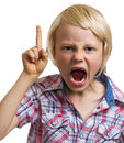 Angry shouting boy with finger raised on white close up portrait of very isolated Stock Images