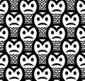 Angry sneaky smiley seamless pattern black and white Stock Image