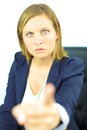 Angry strong woman boss unhappy blond young in office Stock Images