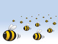 An angry swarm of bees illustration reaching into the distance Stock Photo