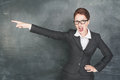 Angry teacher pointing out screaming in glasses Royalty Free Stock Images