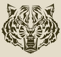 Angry tiger head complex silhouette Stock Images