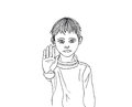 Angry and unhappy boy showing hand sign enough against violence stop the drawing a black pen Stock Photography