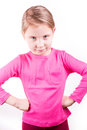 Angry unhappy little girl isolated on white background Stock Photography