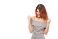Angry unhappy screaming woman on white isolated background Royalty Free Stock Photos
