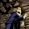 Angry vampire turning back with clenched fist cartoon style illustrated threatening bats Stock Images