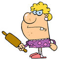 Angry Wife With A Rolling Pin Royalty Free Stock Image