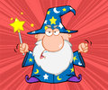 Angry wizard magic wand cartoon character Stock Photography
