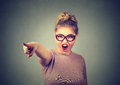 Angry woman accusing screaming pointing with finger Royalty Free Stock Photo