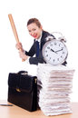 Angry woman with baseball bat under stress missing deadline Royalty Free Stock Photography