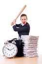 Angry woman with baseball bat under stress missing deadline Stock Image