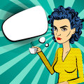 Angry woman blue hair pop art drinking coffee Royalty Free Stock Photo