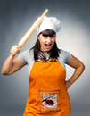 Angry woman cook Stock Image