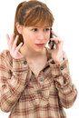 Angry woman making a phone call Royalty Free Stock Photos