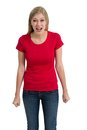 Angry woman posing with blank red shirt young beautiful female ready for your design or artwork Stock Images