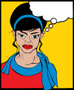 Angry woman retro looking pop art illustration Stock Images