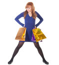 Angry woman with shopping bags over white background Stock Image