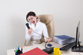 Angry woman shouting on the phone Royalty Free Stock Photo
